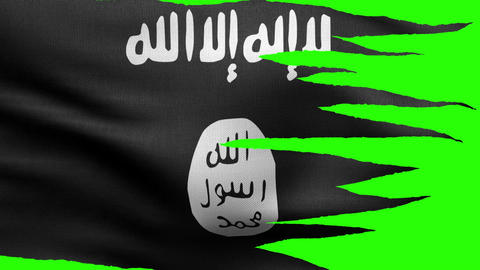 Flag of the Islamic State tattered HD Animation