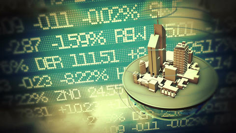 Urban world at stock market background Animation