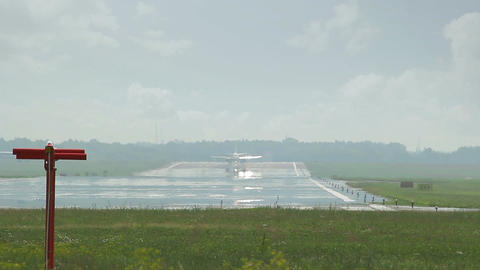 Large Airliner Waiting At End Of Runway stock footage