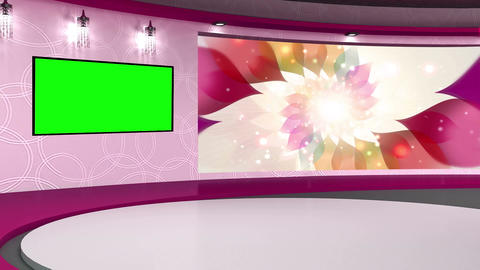 Talkshow TV Studio Set 01 Virtual Green Screen Bac Footage