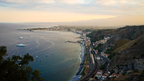 Taormina And Mount Etna, Sicily, Italy. Timelapse stock footage