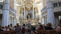 The interior of Dresden Frauenkirche - Church of O Footage