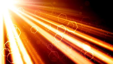 Golden Light Rays And Hexagons stock footage