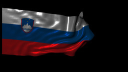 Republic Of Slovenia Looping Flag With Alpha Chann stock footage