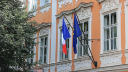 Flag Of France And European Union On A French Emba stock footage
