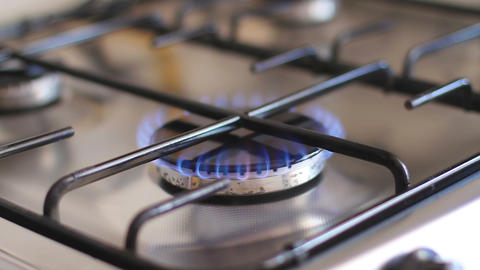 Flame Cooker In The Kitchen Close Up stock footage