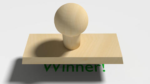 "Wooden Stamp Prints ""Winner"" stock footage"