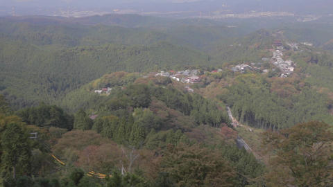 Aerial view - zoom out top of Yoshino Mountain Footage