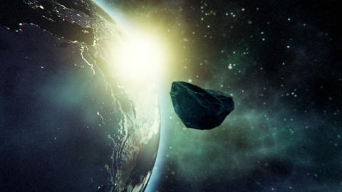 Close Approach To Earth By Asteroid stock footage
