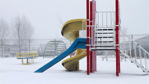 Winter Playground stock footage
