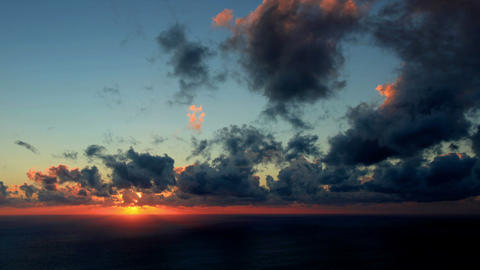 Timelapse Sunset On The Sea. Earthquake. FULL HD stock footage