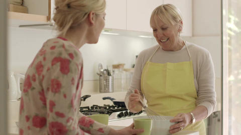 Happy Women In Home Kitchen, Mom And Daughter Talking stock footage