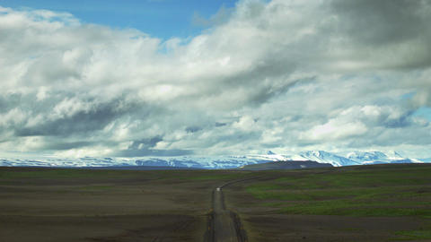 Mountain Range With Snow In Iceland stock footage