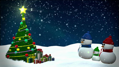 Snowmen At Snowfall Background stock footage