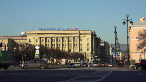 Bank Russia. The Main Building In St. Petersburg.  stock footage