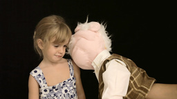 Little Girl Puppet Sad Play stock footage