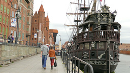 Gdansk, Poland - Old Town. Galleon Ship stock footage