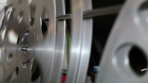 35mm Film Cinema Reels Rewinding stock footage