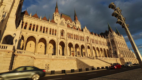 Storm arising over the Parliament in Budapest Footage
