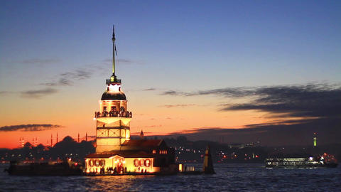 Istanbul Maiden Tower From The East In Sunset stock footage