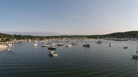 Aerial Harbor And Marina stock footage