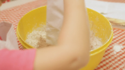 Little Girl Cooking Cake Flour stock footage