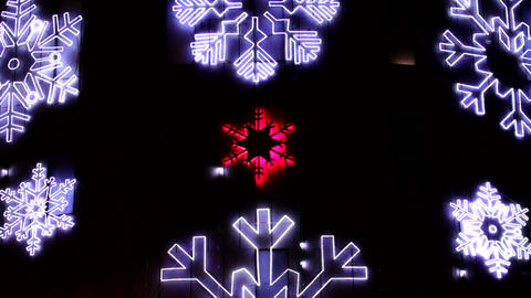 Led Christmas Snowflakes Decorations Detail stock footage