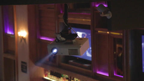 Projector In Chic Lounge - Nightlife stock footage