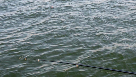 Casting A Spinning Rod stock footage