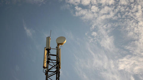 Mobile Phone Base Station Antenna Tower stock footage