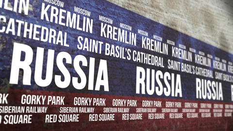 Russia Flag Tourism Attractions Banner stock footage