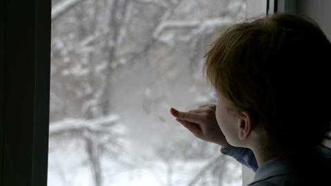 Snow Outside The Window stock footage