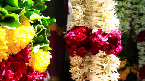 Pan shot of garlands, Chennai, Tamil Nadu, India Footage