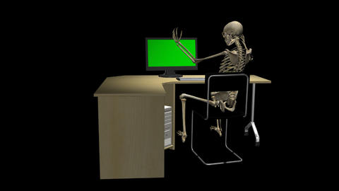 Skeleton At Computer - Long Back - Loop - Alpha stock footage