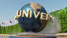 View of the spinning Universal Globe outside the U Footage