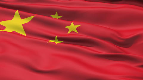 Realistic 3d seamless looping China flag waving in the wind Animation