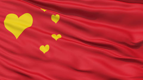 Realistic 3D detailed slow motion Chinalove flag in the wind Animation
