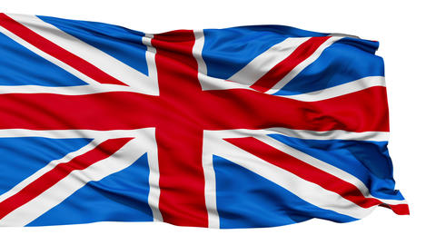 Realistic 3d seamless looping Great Britain(English) flag waving in the wind Animation