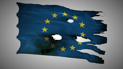 European Union Perforated, Burned, Grunge Waving F stock footage