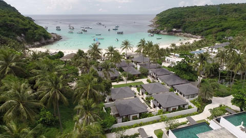 Hotel On The Island. Overhead Shot stock footage
