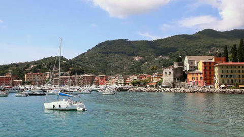View Of The Harbor And The Town Of Santa Margherita Ligure, Italy On The Sea In  stock footage