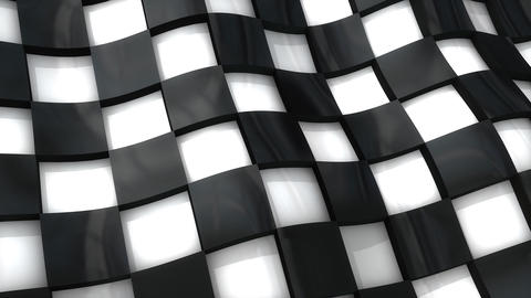 Checkered Flag With 3D Deep Effect stock footage