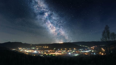 Milky Way Over Mountain Town stock footage