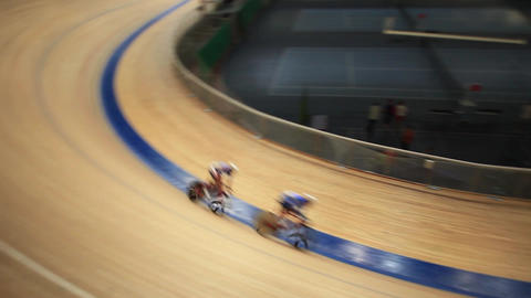 Pursuit Cycling Tracking Focus stock footage