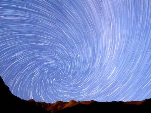 Milky Way In The Mountains. Spiral. Time Lapse. 64 stock footage