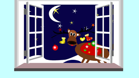 Cute Christmas reindeer looking through the open w Animation