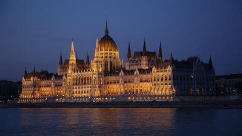 Parliament of Budapest, Hungary at night Footage