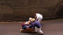 Wicker Toboggan Sled Ride on Madeira, Portugal Footage
