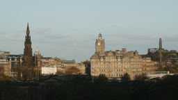 4K Balmoral Hotel And Scott Monument In Edinburgh, stock footage