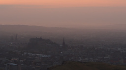 Misty Sunset Over Edinburgh From Arthur's Seat stock footage